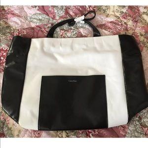 "Calvin Klein shopper tote bag ~18X12"" black white"
